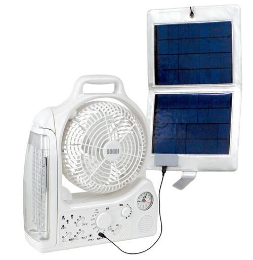 携帯型ソーラーパネル&多機能充電型扇風機「SUGOI ECOセット ...