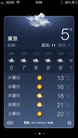 iOSに付属のアプリ「天気」は、ここ日本ではYahoo! JAPAN(Yahoo!天気・災害)の天気情報が使用されています