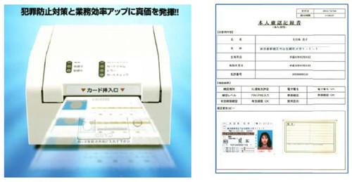 「運転免許証チェッカー」本体と使用例(イメージ) 対応カードは、運転免許証(ICチップ搭載、非I