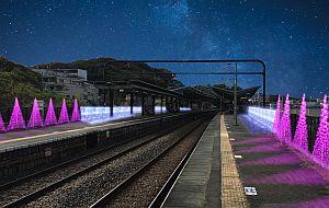 京王電鉄&よみうりランド、京王よみうりランド駅に4万球のイルミネーション