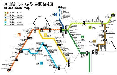 JR西日本米子支社管内のラインカラーと路線記号を導入した路線図(イメージ)