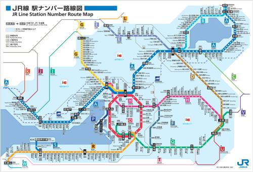 駅ナンバー導入後の近畿エリアのJR路線図(画像はすべてJR西日本提供)
