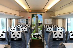 ラッピング列車の車体前面がパンダフェイスに。車内のオリジナル座席ヘッドカバーもパンダにちなんだデザイン