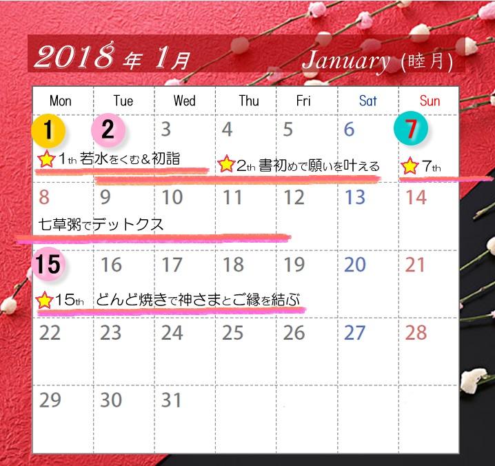 1月の開運カレンダー。注目は1日、2日、7日、15日
