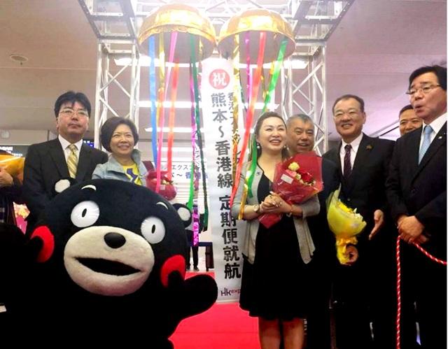 香港エクスプレス、熊本=香港線の定期便就航--初便はくまモンもお祝い