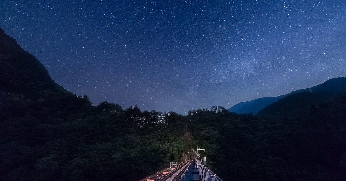 大井川鐵道井川線「星空列車」秘境駅・奥大井湖上駅から星空観察