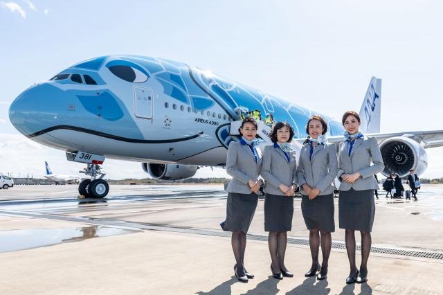 ANAの空飛ぶウミガメ「A380」1号機が成田空港に到着