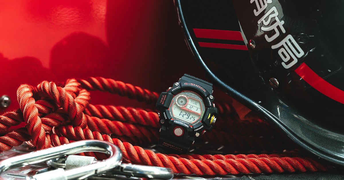 """Photo of G-SHOCK, a shock-resistant watch in collaboration with the Fire Department, """"Emergency Fire Aid Model"""""""