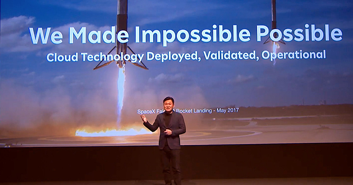 "Photo of Mr. Mikitani also appeared on stage, Qualcomm's ""5G"" now and in the future"