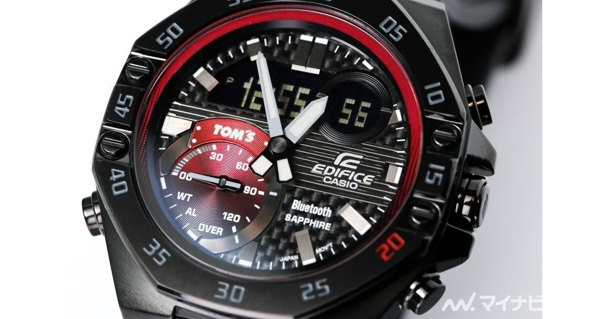 Photo of EDIFICE's new work with photos-20th anniversary model 2nd is carbon x red Fuji