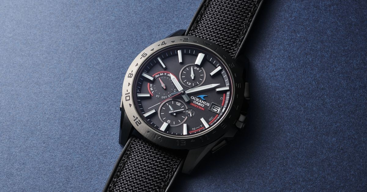 """Photo of Collaboration model with Casio """"OCEANUS"""" and luggage brand """"BRIEFING"""""""