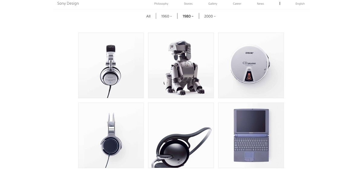 Photo of Walkman, Xperia, VAIO also PlayStation-Web gallery that traces the history of Sony design