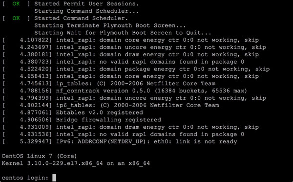 CentOS 7のログイン画面