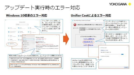更新時にエラーが発生しても、解決法がUnifier Castより細かく提示される