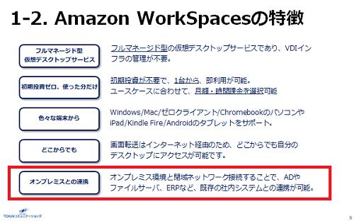 Amazon WorkSpacesではDaaSとして求められる要件を十分に備えるほか、自社環境とセキュアに接続するための仕組みも用意。これを活用することで、自社環境との早期接続が期待できる。
