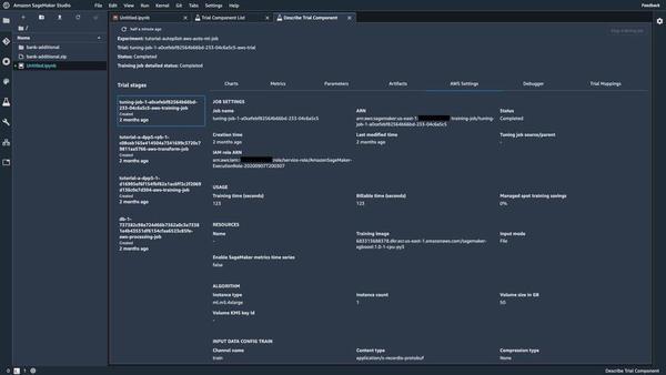 Amazon SageMaker Studioの学習ジョブの詳細(AWS Settings)