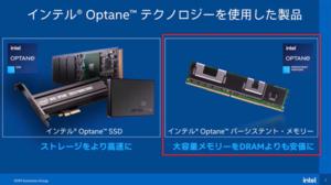 Optane テクノロジーには、ストレージとして使用するOptane SSDと、 DIMM スロットに装着するOptane PMemの2種類がある