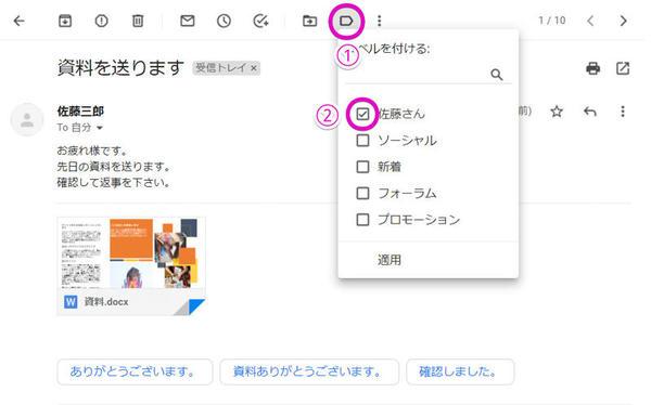 ラベルを付与するにはメールを開いた後、「ラベル」ボタン(1)をクリックし、付与したいラベル(2)をクリックしてチェックを付ければよい