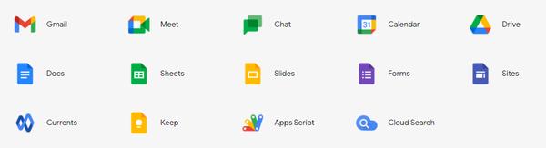Google Workspaceで利用することのできるアプリケーション一覧