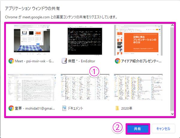 ウィンドウ一覧(1)の中から共有したいものを選び、「共有」(2)をクリックすれば画面の共有が始まる