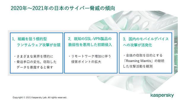 2020年~2021年の日本におけるサイバー脅威の傾向