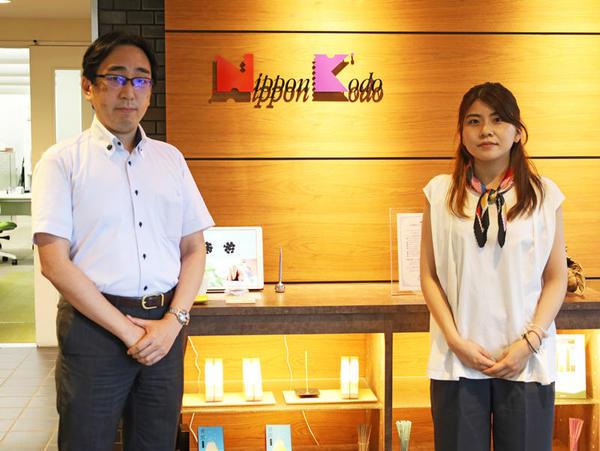 左から日本香堂 情報システム部 次長の大杉卓也氏、同 管理本部 情報システム部の篠田実桜氏