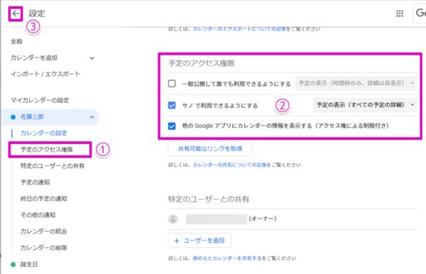 設定画面から「予定のアクセス権限」(1)を選び、予定のアクセス権(2)を設定した後、カレンダーに戻るボタン(3)を押せば設定は完了する