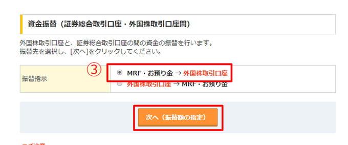 MRF・お預かり金からマネックス証券の外国株取引口座へ