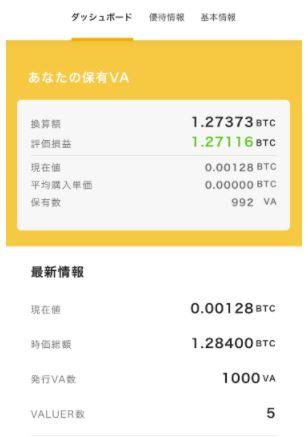 VALUのユーザーVA情報画面