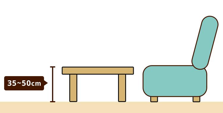 ローテーブルの高さ ソファに座って使う場合