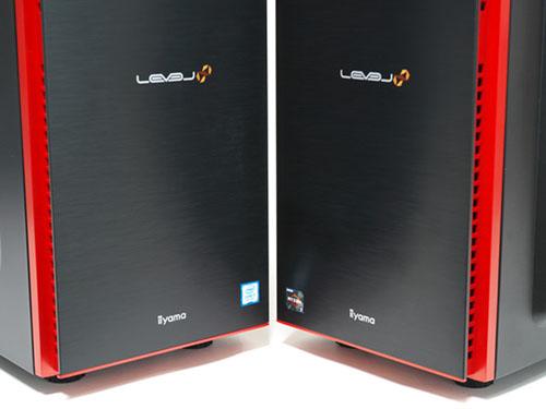 インテル Core i7-8700KとNVIDIA Geforce GTX 1080 Tiを搭載したハイエンドモデル「LEVEL-R037-i7K-XNVI」(左)、AMD Ryzen 7 1700とNVIDIA Geforce GTX 1060 6GBを搭載したミドルレンジモデル「LEVEL-R0X3-R7-RNR」