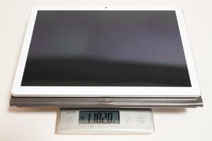 タブレット本体とキーボードカバーの合計重量は実測1182g。カタログスペックの約1.2kgよりも、実測重量のほうが軽かった