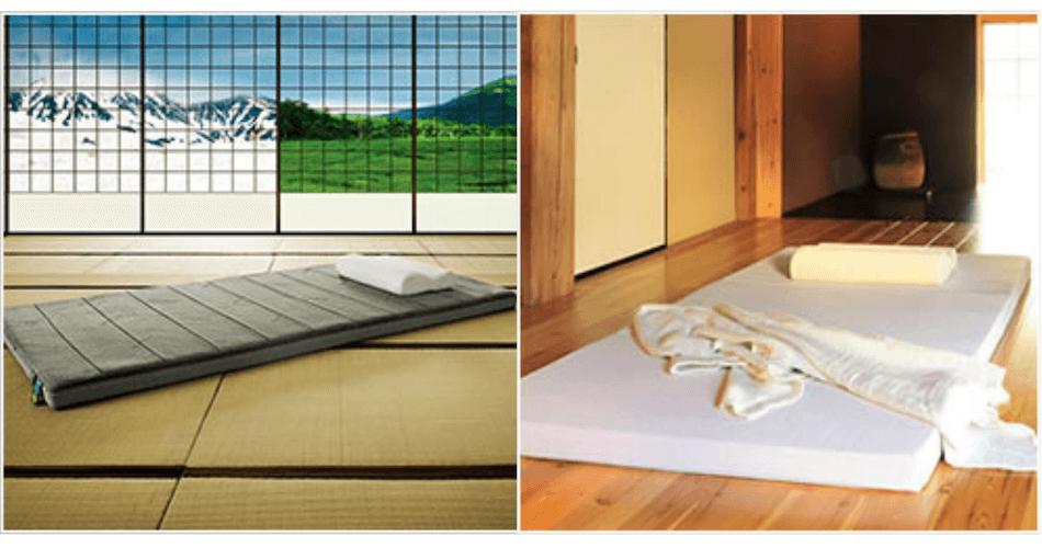 マットレスを床と畳に敷いている画像
