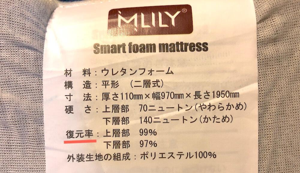 ウレタンマットレスの復元率の品質表示