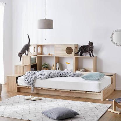 キャットウォーク付き壁面収納ベッド4点セット