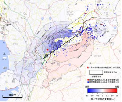 図国土地理院による地殻変動解析結果(一部)(国土地理院提供) 国土地理院は、布田川(ふたがわ)断