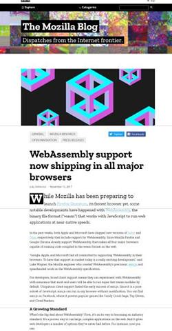 WebAssemblyが主要ブラウザでサポート - Mozilla official blog