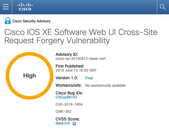 Cisco IOS XEに脆弱性、アップデートを   マイナビニュース