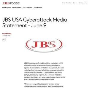 食肉加工のJBS Foods、サイバー攻撃者に1100万ドルの身代金払う