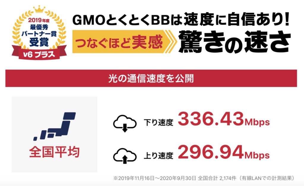 GMOとくとくBBの速さ